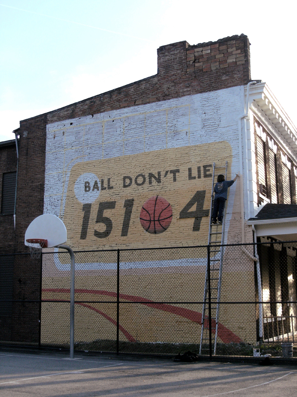 Ball don t lie mural braddock basketball court for Basketball court mural
