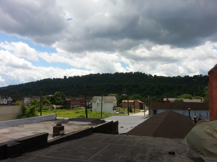 View from the roof. Braddock, Mononghehela River , and Dusquense Hills