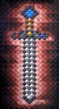 """""""Pixel Sword"""" 2016 Acrylic on wood panel 24"""" x 48 X 1 5/8"""""""